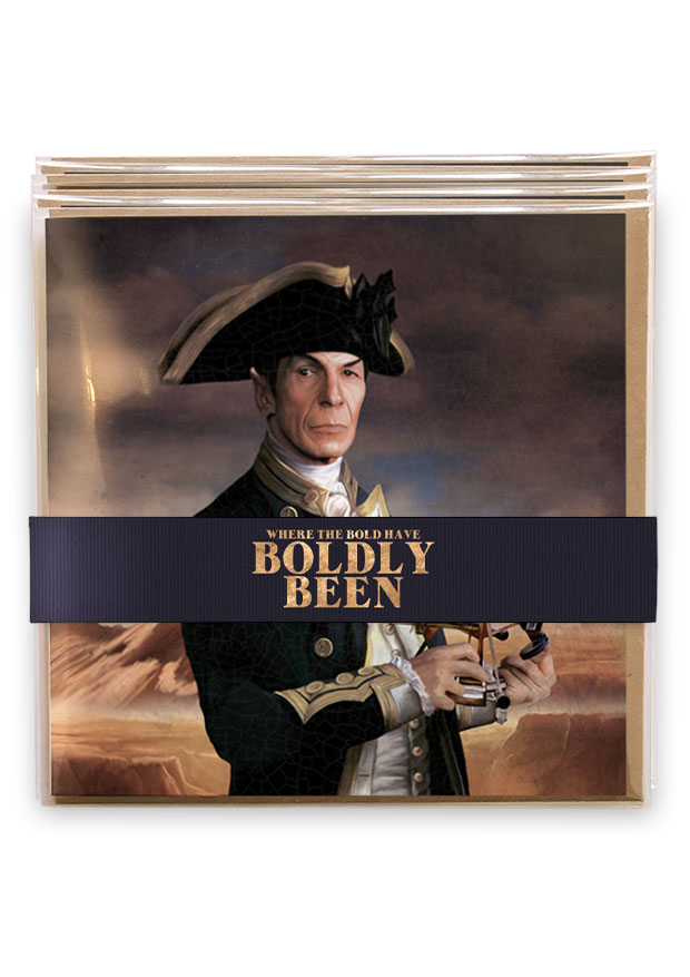 Where The Bold Have Boldy been greetings cards gift set, by Young Rascal. All 7 cards wrapped and bound with dark blue styled ribbon.