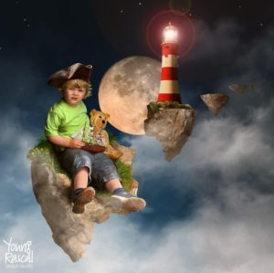 Young Rascal pirate themed Photoshop manipulation of a young boy, with his teddy, floating on a rock in space, before a full moon and lighthouse.