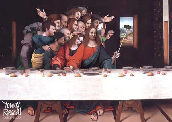 Young Rascal digital reworking of the Last Supper with Jesus and his apostles grinning at a camera on a selfie stick.
