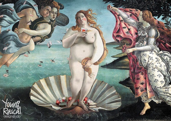 Young Rascal digital reworking of a large Venus emerging from the sea on her shell, sipping a hefty milkshake, with fast food at her feet.