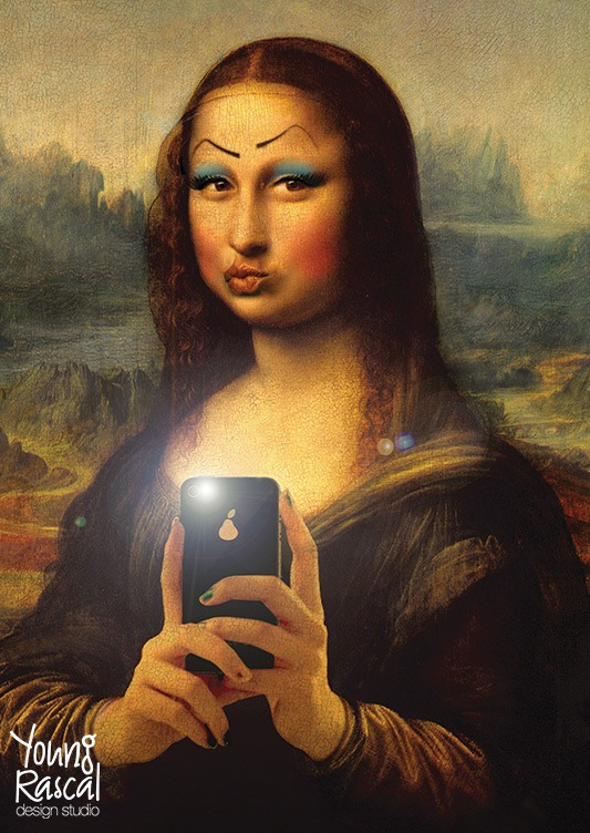 Young Rascal digital reworking of Leonardo Da Vinci's 'Mona Lisa', pasted with wonky makeup while blowing a kiss to the camera.