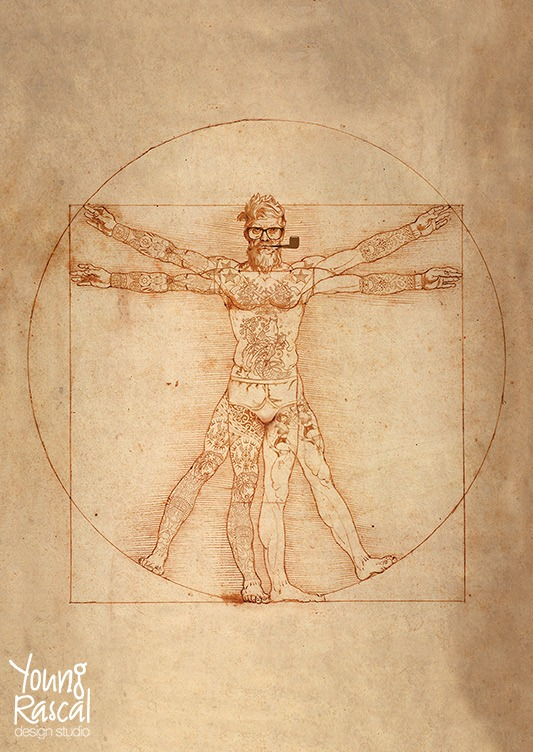 Young Rascal digital reworking of Leonardo Da Vinci's 'Vitruvian Man' fully tattooed, with hipster hair and trendy pipe.