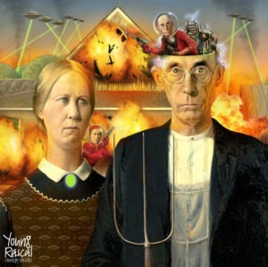 American Gothic's farmers are being controlled by small, alien versions of themselves, wreaking havoc with laser beams from spaceships.