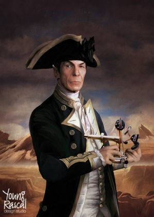 Leonard Nimoy's character Spock, holding sextant, reimagined in the golden age of naval discovery from Young Rascal's Boldly Been print folio.
