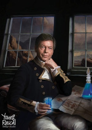 DeForest Kelley's character, Bones, with Roumlan ale, reimagined in the golden age of naval discovery from Young Rascal's Boldly Been print folio.