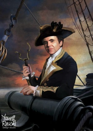 Walter Koenig's character, Chekov, before a cannon, reimagined in the golden age of naval discovery from Young Rascal's Boldly Been print folio.