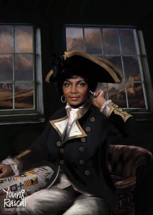 Nichelle Nichols' character, Uhura, with semaphore chart, reimagined in the golden age of naval discovery from Young Rascal's Boldly Been print folio.