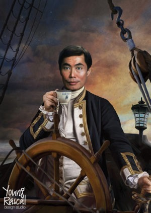 George Takei's character, Sulu, before ship's wheel, reimagined in the golden age of naval discovery from Young Rascal's Boldly Been print folio.
