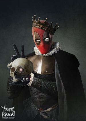 Young Rascal digital painting of Ryan Reynolds' Deadpool, complete with Cable's skull, treading the boards as William Shakespeare's Hamlet.