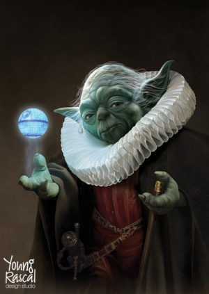 Young Rascal digital painting of Yoda, the old master of the force, resplendent with ruff, spinning the Death Star above his hand.