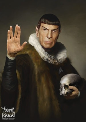 Young Rascal digital painting of Leonard Nimoy donning the ruff as his most memorable and much loved Star Trek character, Spock.