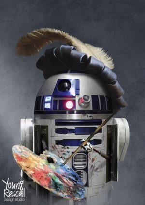 Young Rascal baroque Star Wars themed digital painting of R2D2, complete with feathered cap and artists palette, creating a self portrait.