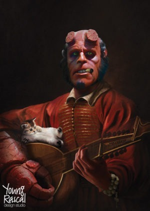 Young Rascal digital reworking of Ron Perlman's Hellboy playing the lute, watched on by his kitten, painted in a Baroque style.