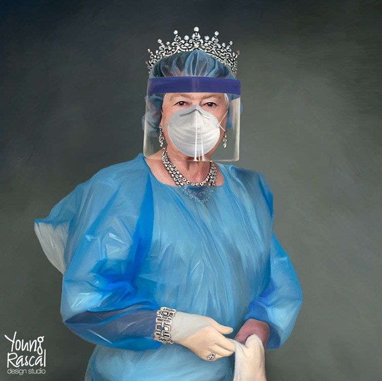 Young Rascal satire. Bejewelled and gloved, Queen Elisabeth II, sits for a portrait in full Personal Protective Equipment during the Covid pandemic.