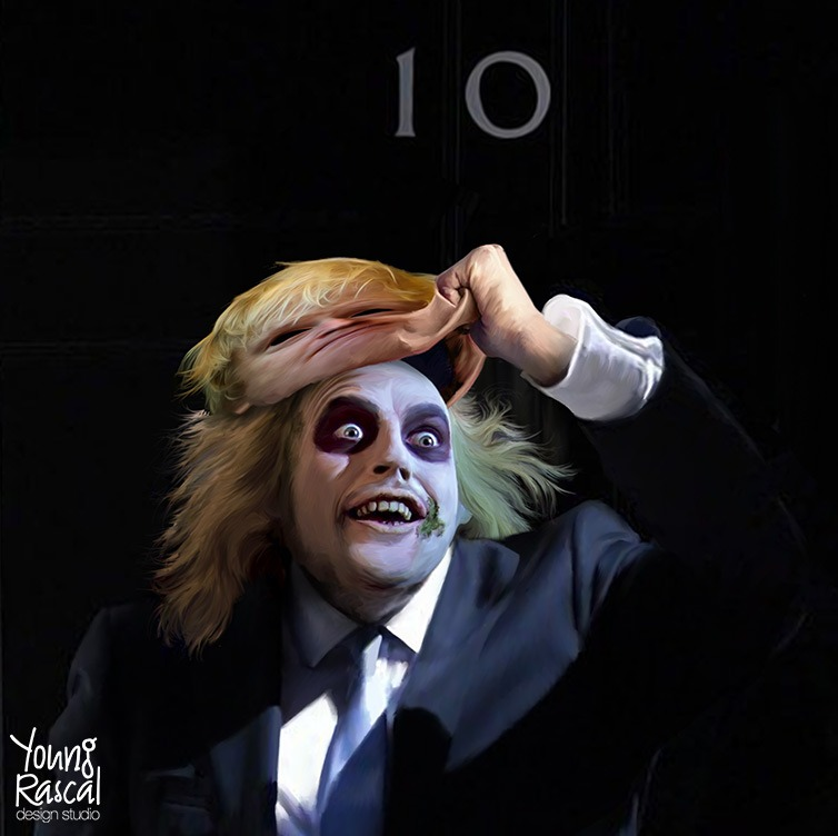 Young Rascal satire. The suited stature of Boris Johnson stands before the door of 10 Downing Street, he pulls his face off to revel Beetlejuice.