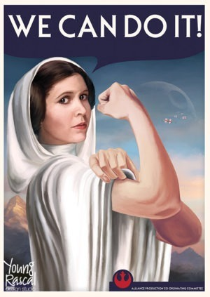 Star Wars themed propaganda poster, featuring Princess Leia striking the famous 'WE CAN DO IT!' pose as the Death Star appears in the sky.