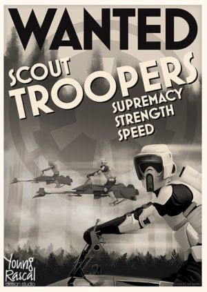 Forest themed Star Wars propaganda poster, featuring Scout Troopers speeding through trees encouraging people to join them.
