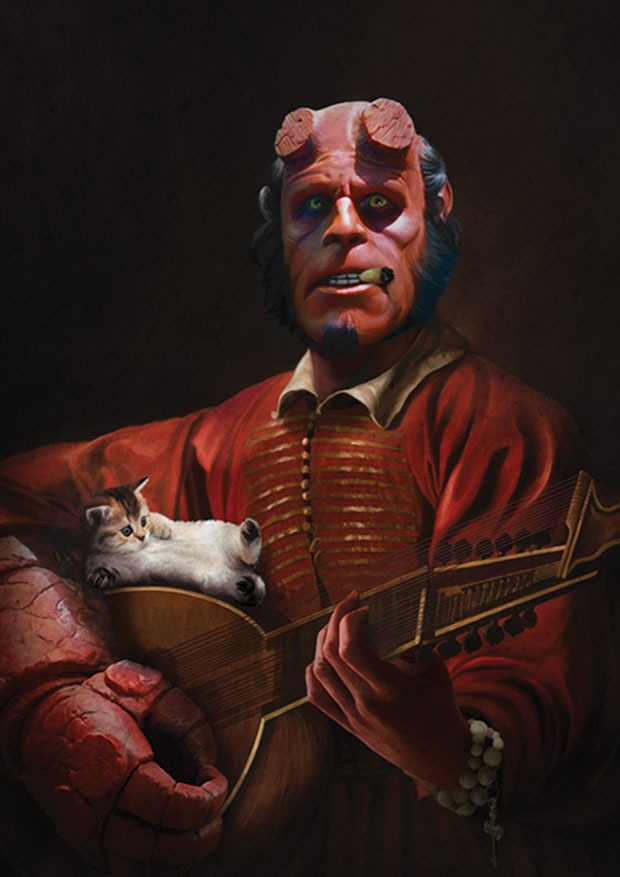 Young Rascal Baroque styled print of Ron Perlman's Hellboy playing the lute, watched on by his kitten.