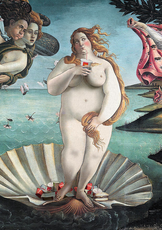 Young Rascal print of Venus reimagined with a hefty fast food milkshake in her hand.