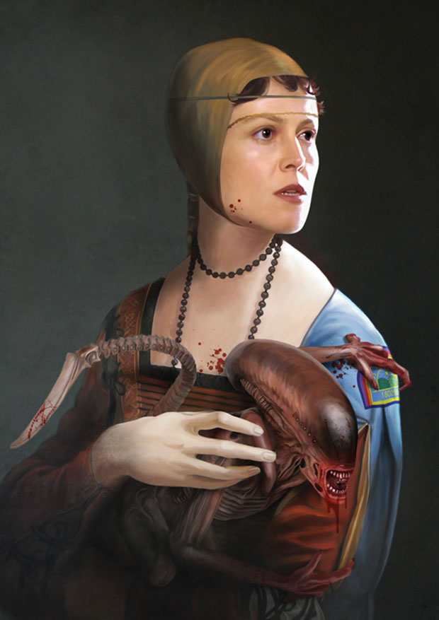 Young Rascal print of Sigourney Weaver posing with an Alien in this reimagined work of Leonardo Da Vinci.