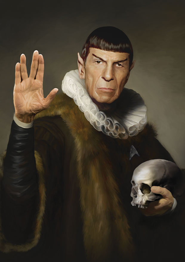Young Rascal print of Leonard Nimoy donning the ruff as his much loved Star Trek character, Spock.