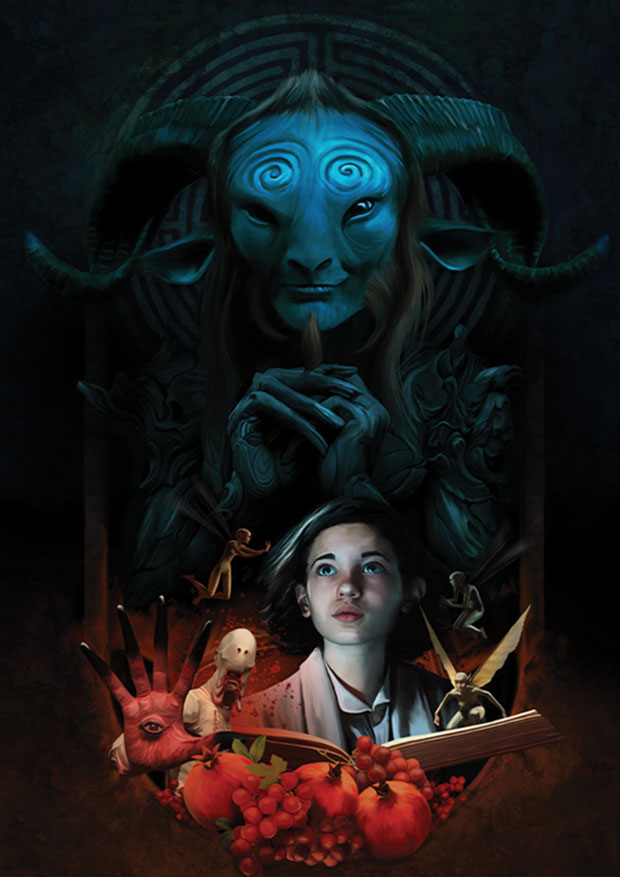 Young Rascal print of Guillermo del Toro's Pan, with hands crossed, standing before the Labyrinth overlooking Ofelia and the tasks she must undertake.