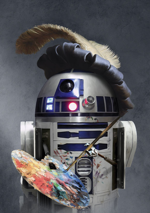 A young Rascal Baroque Star Wars themed print of R2D2, complete with feathered cap and artists palette, painting a self portrait.
