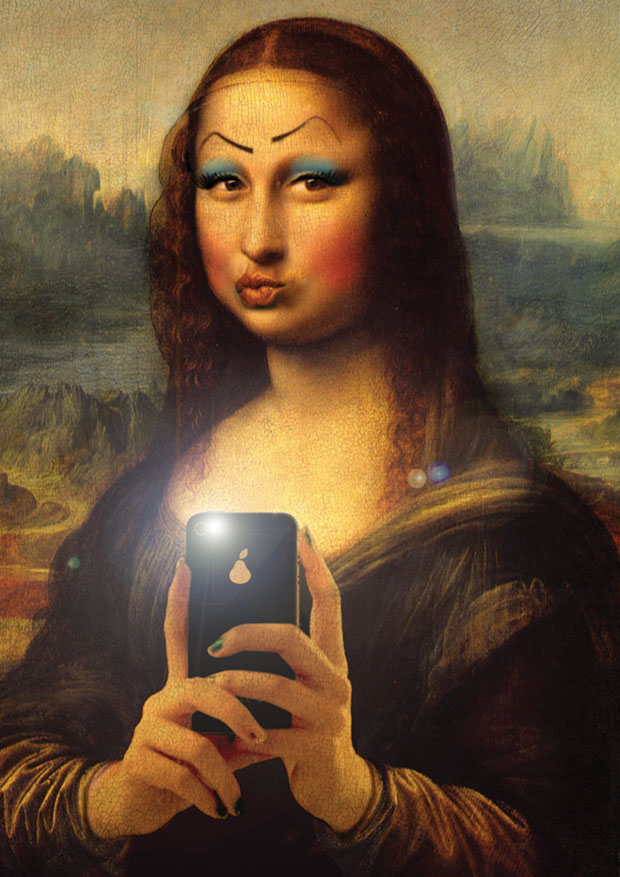 Young Rascal print of Mona Lisa adorned with wonky makeup blowing a kiss to the camera.