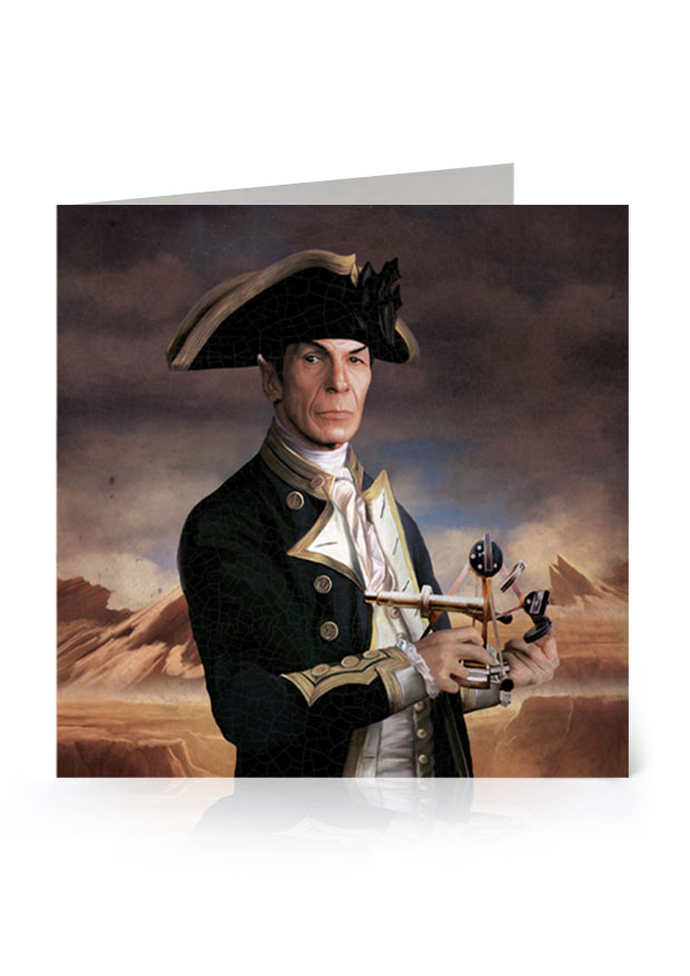 Young Rascal greetings card. Leonard Nimoy's character, Spock, from the original Star Trek series, reimagined in the golden age of naval discovery.