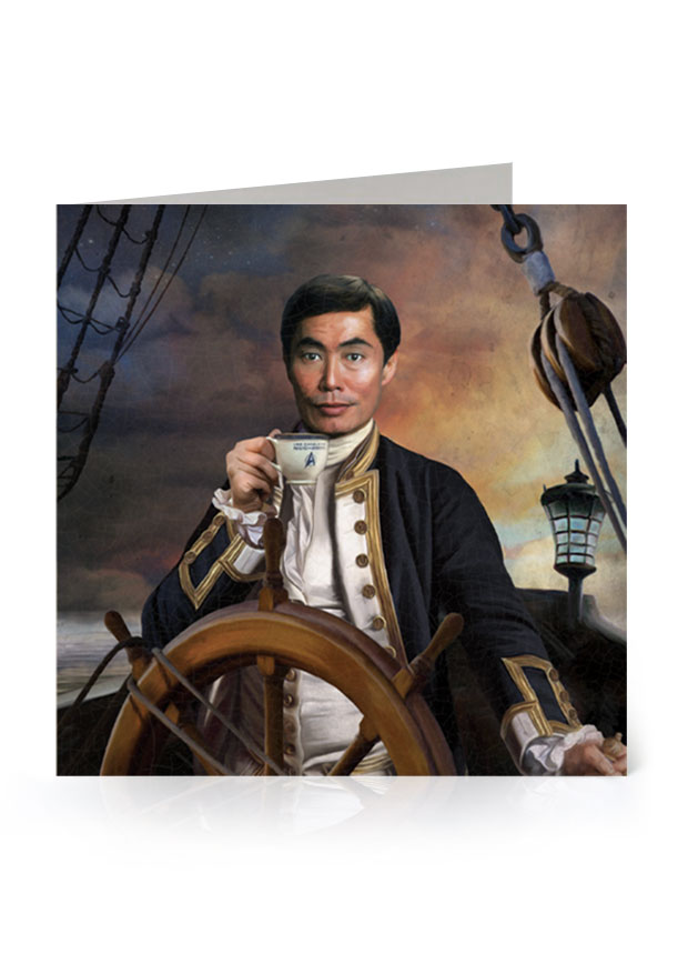 Young Rascal greetings card. George Takei's character, Sulu, from the original Star Trek series, reimagined in the golden age of naval discovery.