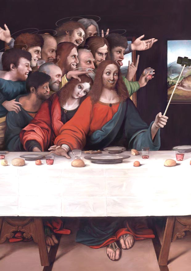 Young Rascal print of The Last Supper reimagined for modern times, with wine, merriment and selfie stick.