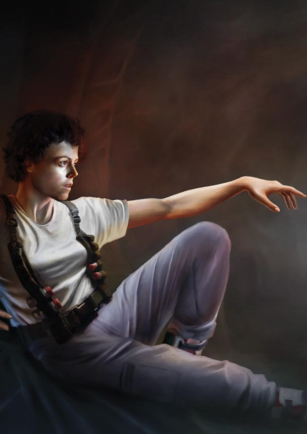 Young Rascal print of Sigourney Weaver as Ellen Ripley, reclining before the Alien Queen from the film Aliens.