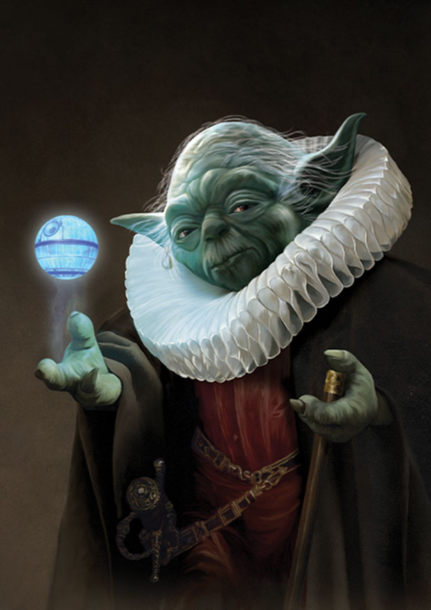 Young Rascal print of Yoda, the old master of the force, resplendent with ruff, spins the Death Star above his hand.