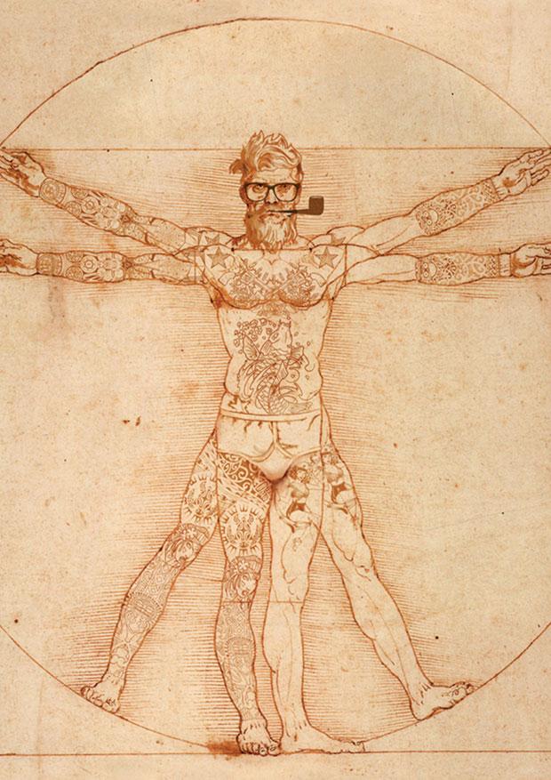 Young Rascal framed print of Da Vinci's Vitruvius in full tattooed splendour.