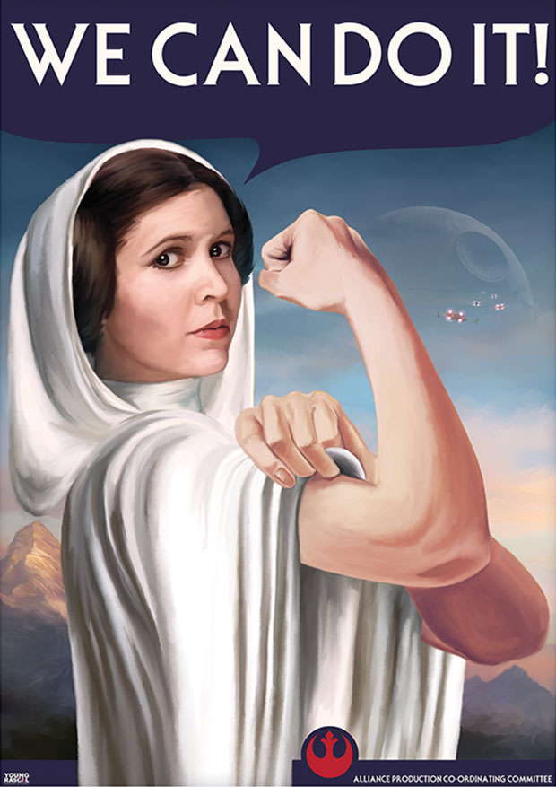 Young Rascal print of Carrie Fisher's Star Wars character, Princess Leia, stars in this inspirational morale boosting poster. We Can Do It!