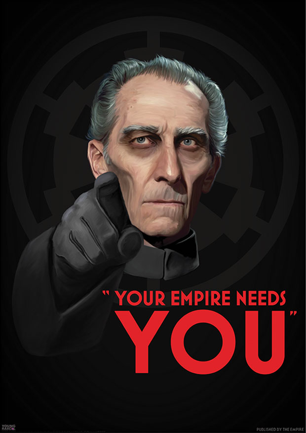 Young Rascal print of Peter Cushing's Star Wars character, Grand Moff Tarkin, in this reworking of the classic recruitment poster.