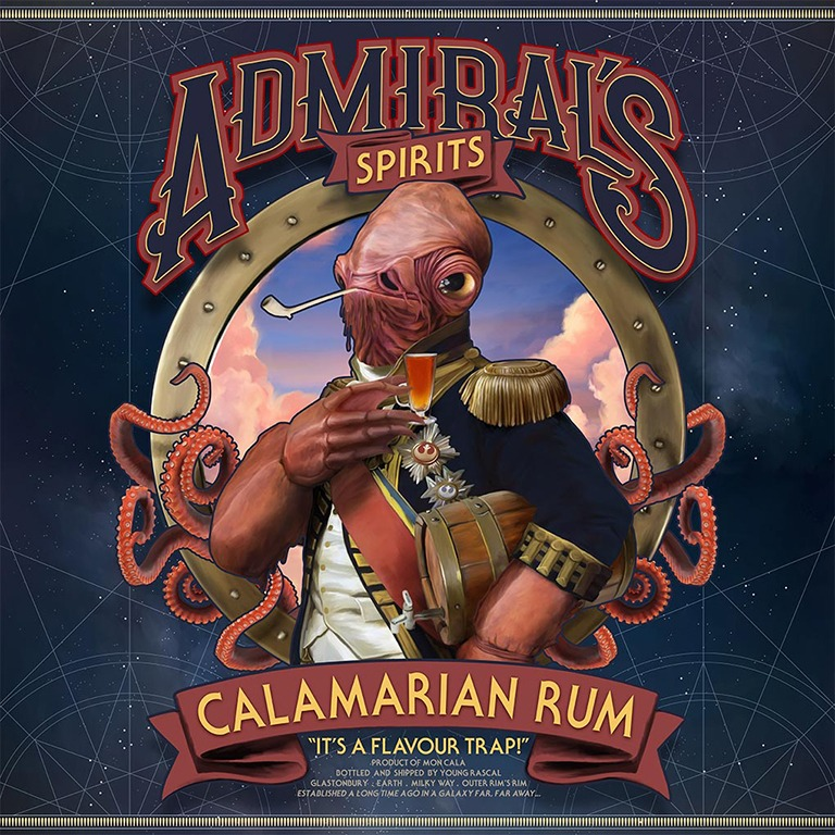 Full view of Admiral Ackbar standing before a porthole wrapped in tentacles, dressed in full naval costume with rum shot and barrel.