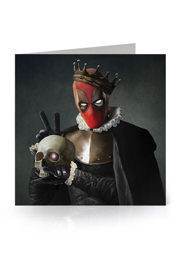 Young Rascal greetings card. 'Alas poor Cable'. Ryan Reynolds' Deadpool treads the boards as William Shakespeare's Hamlet.