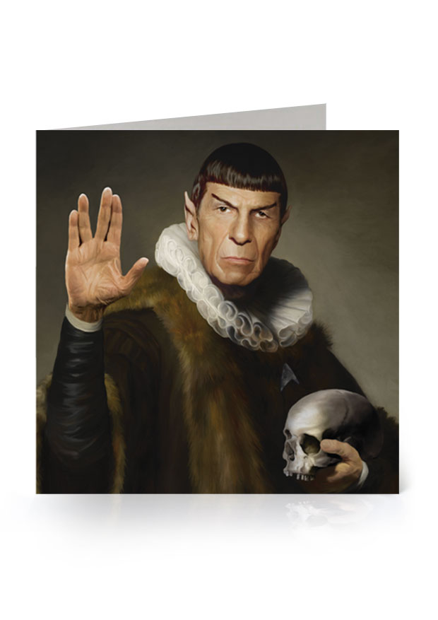 Young Rascal greetings card. 'Live Long and Prosper'. Leonard Nimoy dons the ruff as his much loved Star Trek character, Spock.