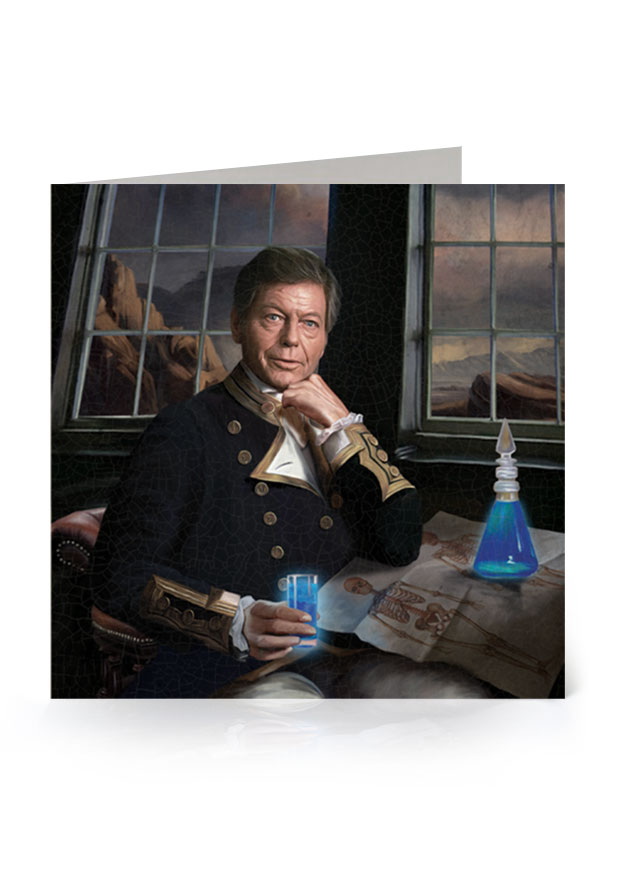 Young Rascal greetings card. DeForest Kelley's character, Bones, from the original Star Trek series, reimagined in the golden age of naval discovery.