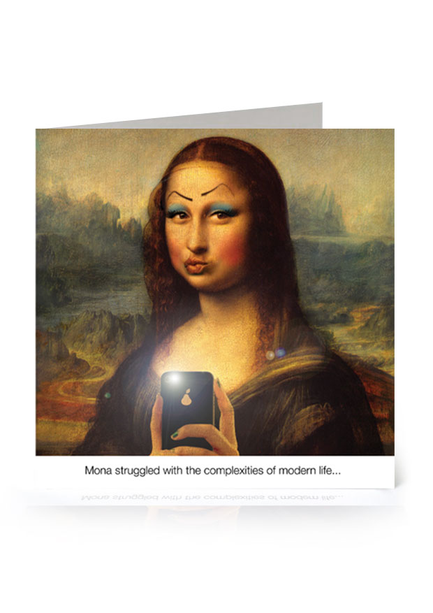 Young Rascal greetings card. 'Selfie'. Mona Lisa adorned with wonky makeup blows a kiss to the camera.