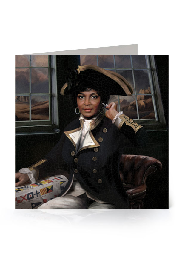 Young Rascal greetings card. Nichelle Nichols' character, Uhura, from the original Star Trek series, reimagined in the golden age of naval discovery.
