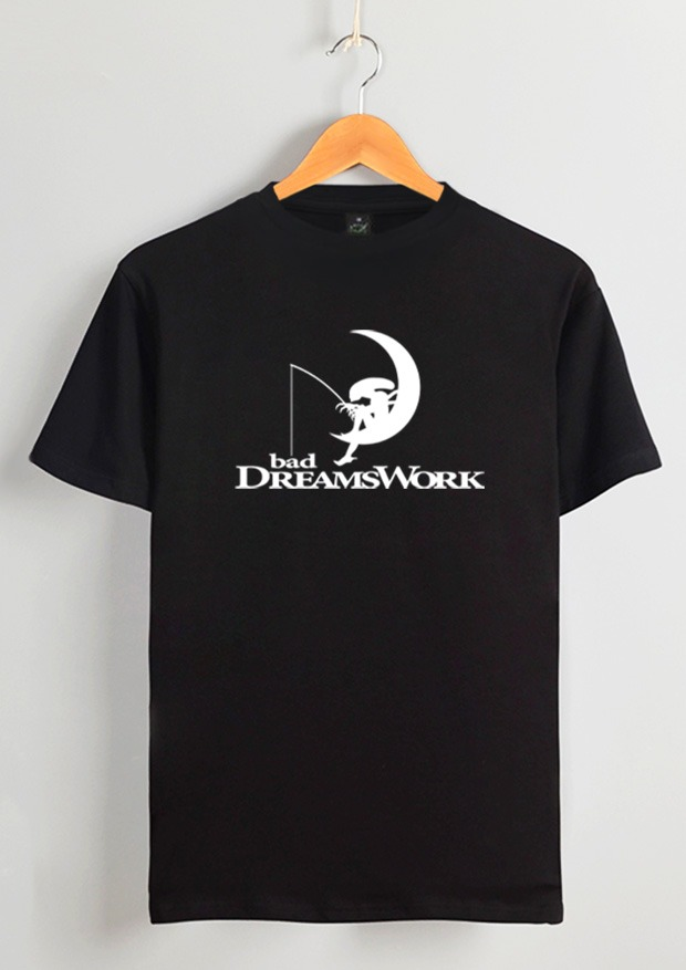A silhouetted Alien fishes off a re-designed Dreamworks logo.